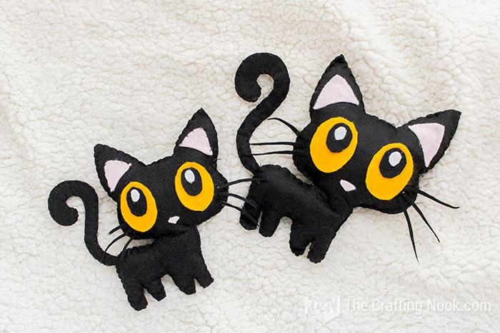 2 black cat softies, hand sewn, halloween crafts