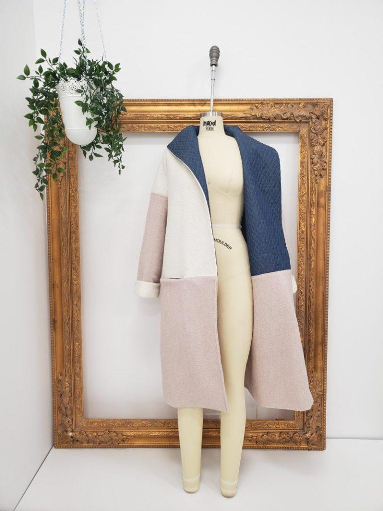Cardigan styled coat