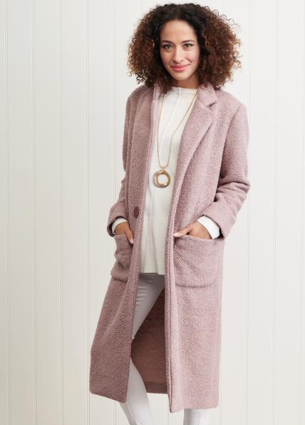 bouclé coat pink